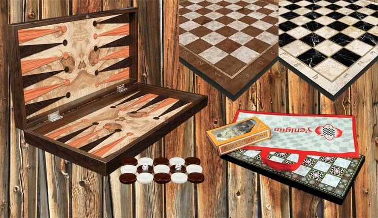 jeux d'échecs, dames et backgammon